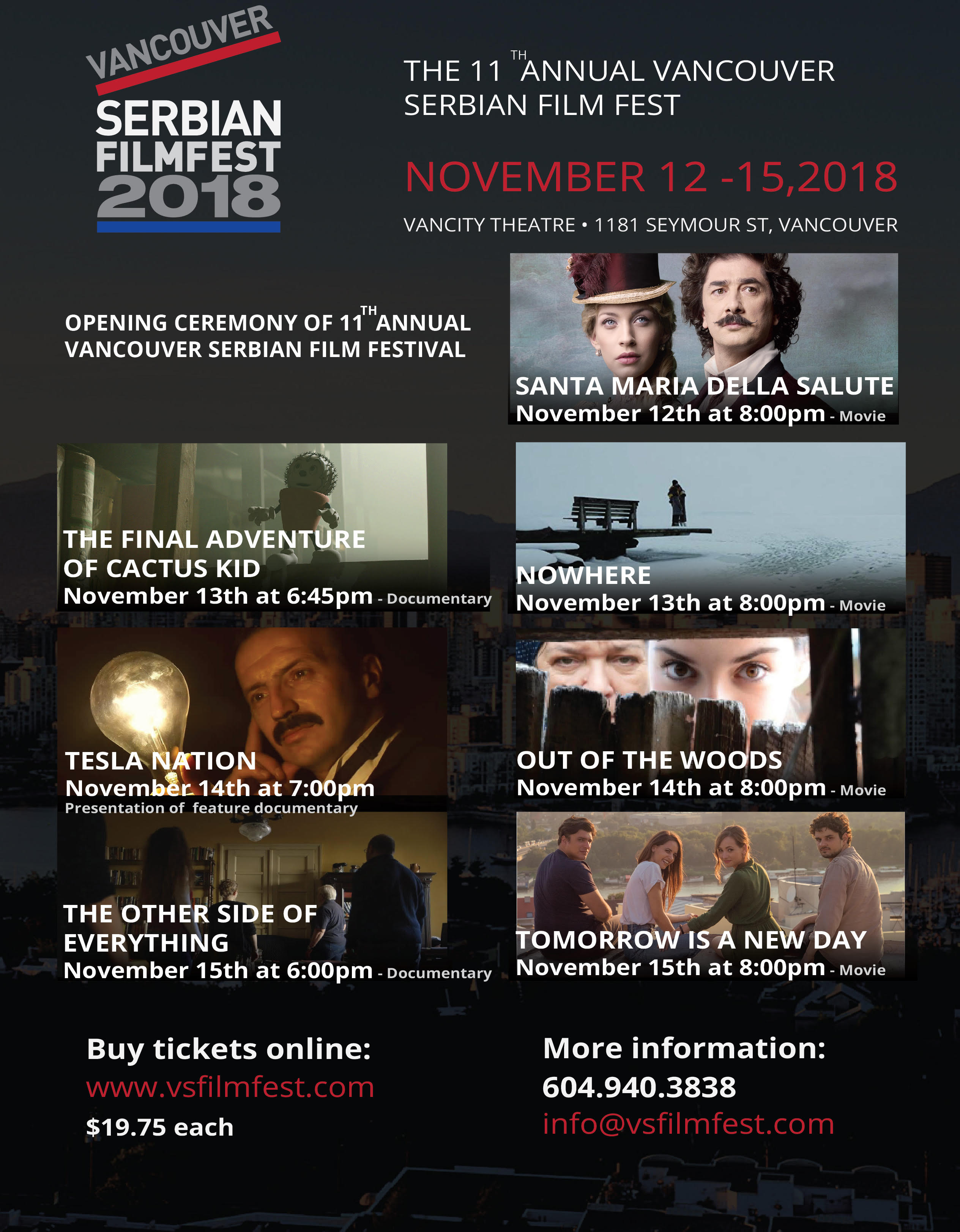 The 11th Annual Vancouver Serbian FilmFest NOVEMBER 12-15, 2018